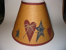 "lampshade--Primitive Red Star/Blue Hearts on Craft--6""x13""x10""--clip top"