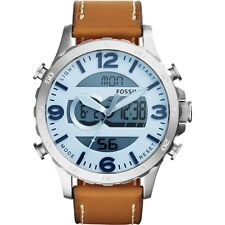 NEW Fossil Nate Blue Dial Brown Leather Silver tone Mens Digital Watch JR1492