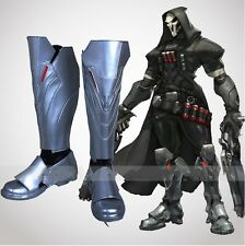 Overwatch Reaper PU silver color boots shoes cosplay costume replica Cool