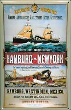 Blechschild Hamburg New York Postdampfer Post Dampfsegler Dampfer Schiff Schild