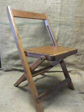 Vintage Wooden Child's Fold Up Chair   Antique Old Stool Unique Design RARE 9032