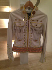 JUST CAVALLI Authentic Women Kidskin Leather Exclusive Fashion Jacket
