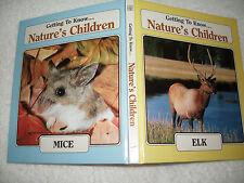 Kids hardcover book:Getting to Know Natures Children-mice/elk-2 books in 1-scien