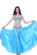 Bollywood Belly Dance Costume Outfit Set Bra Top Belt Hip Scarf Satin Skirt 3PCS