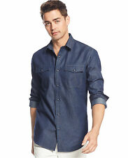 American Rag Men's Long-Sleeve Polished Blue Wash Snap-Button Shirt, 2X-Large