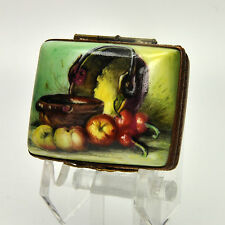 Authentic Limoges Porcelain Box STILL LIFE WITH COPPER POT AND FRUITS  26
