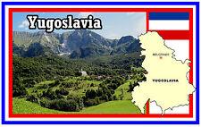 YUGOSLAVIA MAP & FLAG - SOUVENIR NOVELTY FRIDGE MAGNET - BRAND NEW - GIFT