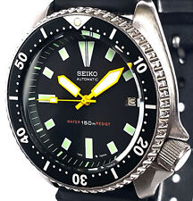 Vintage mens watch SEIKO diver 7002 mod w/all YELLOW Plongeur & Box SS hand set!