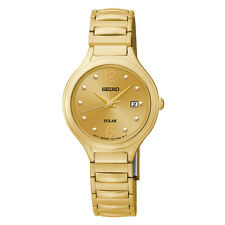 SEIKO SOLAR DATE GOLD-TONE DIAL & EXPANSION BRACELET WOMEN'S WATCH SUT180 NEW