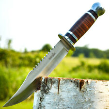 "12"" Wood Hunting Survival Skinning Fixed Blade Knife Full Tang Army Bowie"