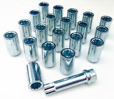 20 x Car wheel Tuner Slim nuts bolts + 17mm Hex Star Key. M12 x 1.5, Taper