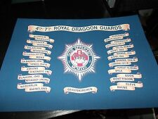 THE 4TH/7TH,ROYAL DRAGOON GUARDS BATTLE HONOURS PRINT A4