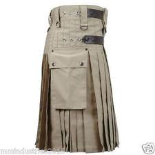 NEW Khaki HANDMADE leather straps 100 % COTTON utility MEN kilt