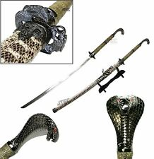 "KING COBRA Head Handle 42.5"" KATANA Snake Skin Scabbard Samurai Sword with STAND"