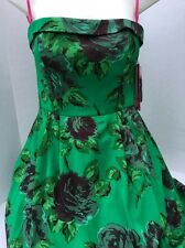 NWT BETSEY JOHNSON Party Dress Size 8 Green Floral Style- FC05W03 Empire Waist