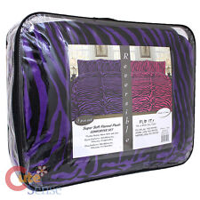Pink Purple Zebra Reversible Queen Comforter  Faux Fur Bedspread Pillow Cover