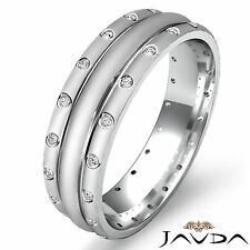 Eternity Wedding Diamond Band Mens Dome Matt Polish Ring 14k White Gold 0.17Ct
