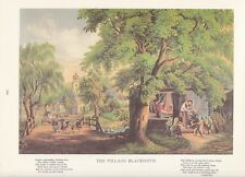 "1974 Vintage Currier & Ives ""THE VILLAGE BLACKSMITH"" w/POEM COLOR Lithograph"