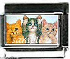 Cats kitten See Hear Speak No Evil photo 9mm Italian charm For Modular Bracelets