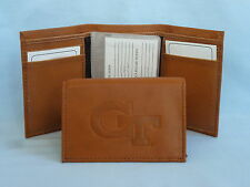 GEORGIA TECH YELLOW JACKETS   Leather TriFold Wallet    NEW    brown 2