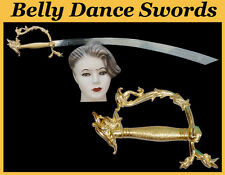 SWORD BELLY DANCE GOLD DRAGON SCIMITAR BALANCED STAINLESS STEEL W/ LEATHER COVER