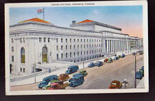 CANADA Toronto Union Station Old Cars Trucks Vintage Postcard