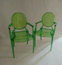 2 x ghost miniature stacking chair bjd 1/6 scale dolls house chair MINIATURE