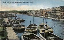 Matanzas Cuba Docks & Warehouses c1915 Postcard