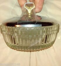 Vintage Clear Glass Covered Candy Dish Jar Golden handle