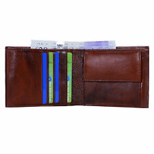 Hide & Sleek Designer Men's Brown Bifold Leather Wallet Card Holder