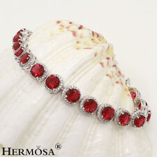 75% OFF Genuine 925 Sterling Silver 19PCS. Fire Garnet Red Topaz Bracelets 8""