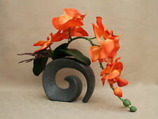 ARTIFICIAL SILK MOTH ORCHID BURNT ORANGE WITH LEAVES IN STONE EFFECT FOSSIL VASE