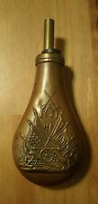 Old Brass Gunpowder Black Powder Flask w/ Cannon 13 Star Flag Rifles Americana