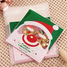 SC 100X Christmas XMAS Party Lollipop Cookies Candy Cello Cellophane Gift Bag