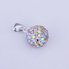 925Sterling  Silver Fashion Crystal Multi-color Ball Pendant Necklace BP020