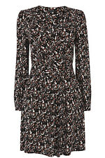 WAREHOUSE MULTI PRINT WRAP SLEEVED DRESS 10