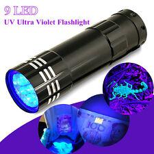 Mini Black 9 LED Aluminum UV Ultra Violet Flashlight Blacklight Torch Light Lamp