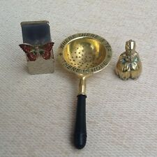 Various Brass Items - Vintage Tea Strainer, Butterfly Note Holder and Dutch Boy