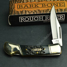 ROUGH RIDER 440 Stainless Jigged Bark Bone Lockback Folding Pocket Knife RR1383