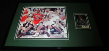 Hersey Hawkins Signed Framed 11x17 Photo Display Sonics vs Michael Jordan