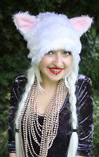 KITTY CAT BABY PINK WHITE EARS SCENE EMO GOTHIC HAT COSPLAY INDIE HALLOWEEN GOTH