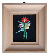 Dolls House Hand Made Miniature 1980s Embroidery Picture Light Frame Flower Mix2