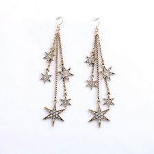 E736 Betsey Johnson Make Wish Dangling Gem Rhinestone Crystal Star Earrings US