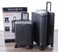 "Samsonite Carbon Elite Silver 2pc Spinner Suitcase Set 20"" Carry-on 28"" Hardside"
