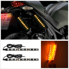 One Pair DC12V 6 Inches 9-LED Amber Motorcycle Turn Signal Light Indicator Strip