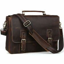 "Mens Vintage Cow Real Leather Briefcase Messenger Bag 15"" Laptop Case Crossbody"