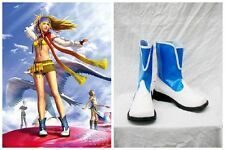Final Fantasy 10 X-2 Rikku Blue White Cosplay Costume Boots Boot Shoes Shoe