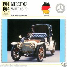 MERCEDES SIMPLEX 28/32 PS 1901 1905 CAR VOITURE GERMANY DEUTSCHLAND CARD FICHE
