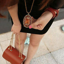 Exquisite Vintage Amber Hollow Long chain Sweater Pendant Necklace Jewelry Hot