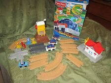 Fisher Price Geo Trax Train set Cross Valley Junction Blue Train Police Car Lot